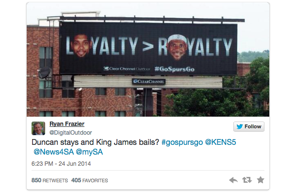 san antonio billboard tim duncan lebron james