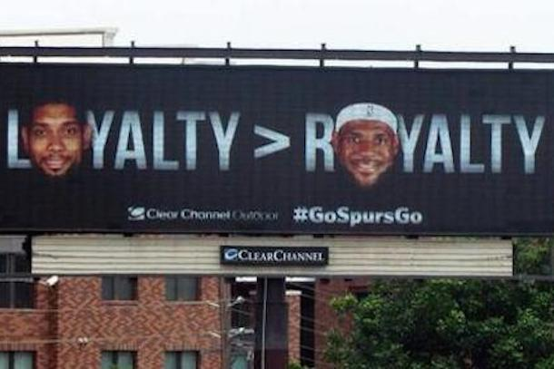 san antonio billboard tim duncan vs lebron james loyalty royalty copy