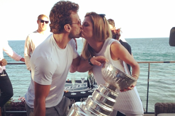 stanley cup with jarret stoll and erin andrews