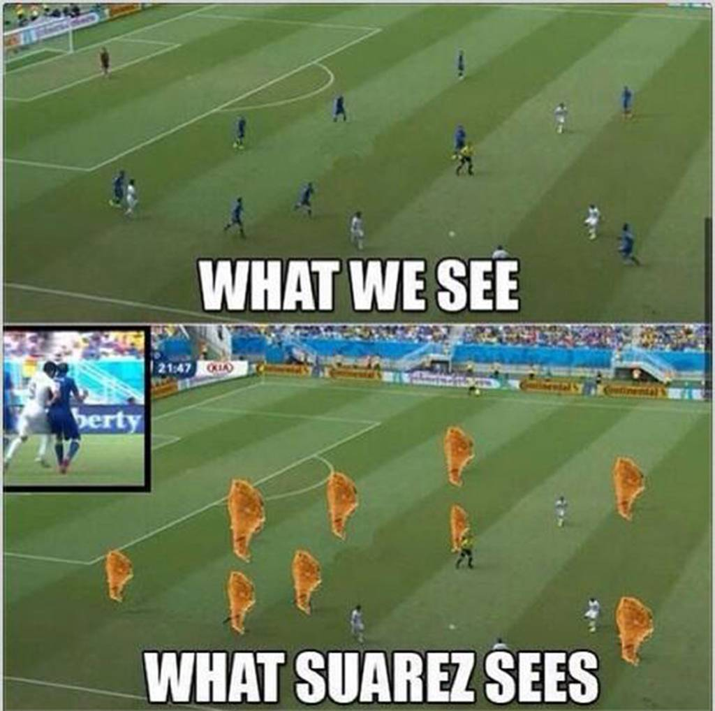 what suarez sees fried chicken - suarez bite memes