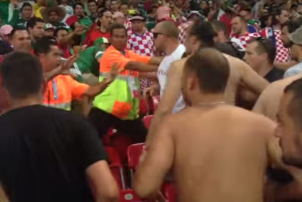 world cup brawl mexico croatia