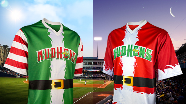 16 toledo mud hens day night double header christmas santa elves jerseys - crazy minor league baseball jereys