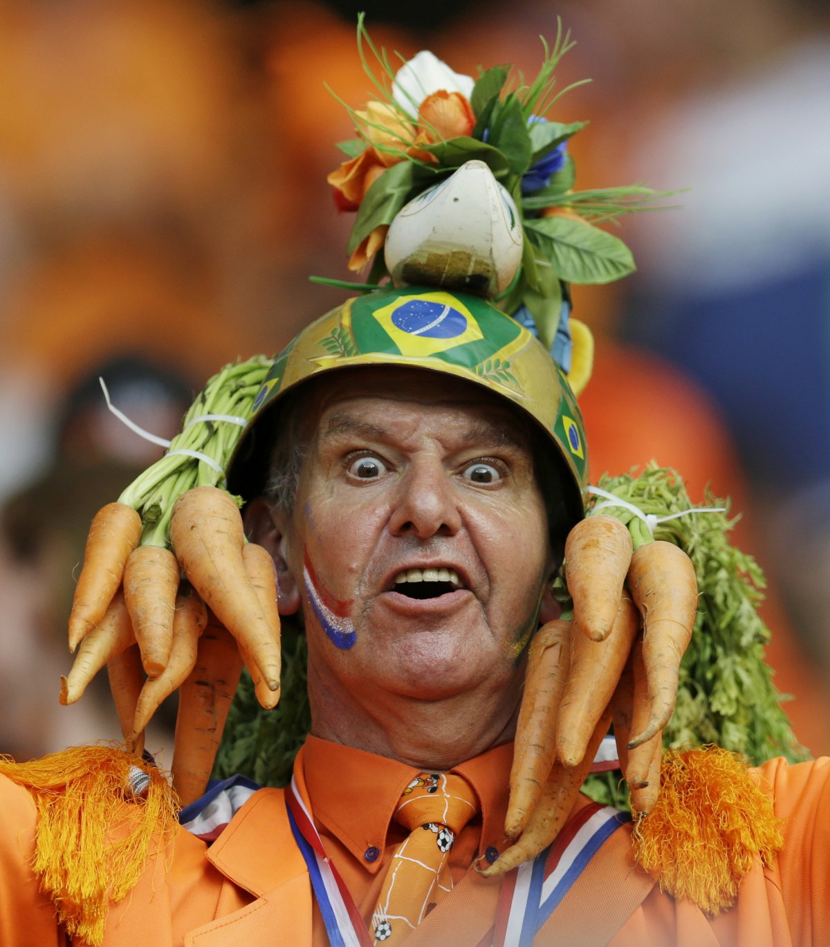 2 dutch crazy carot hat guy - craziest fans at 2014 fifa world cup