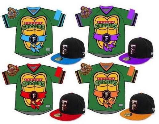 8 fresno grizzlies teenage mutant ninja turtles jerseys (august 2014) - crazy minor league baseball jereys