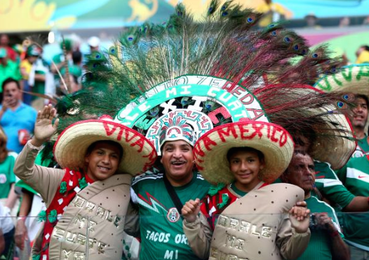 9 mexican taco guys with peacock guy - craziest fans at 2014 fifa world cup