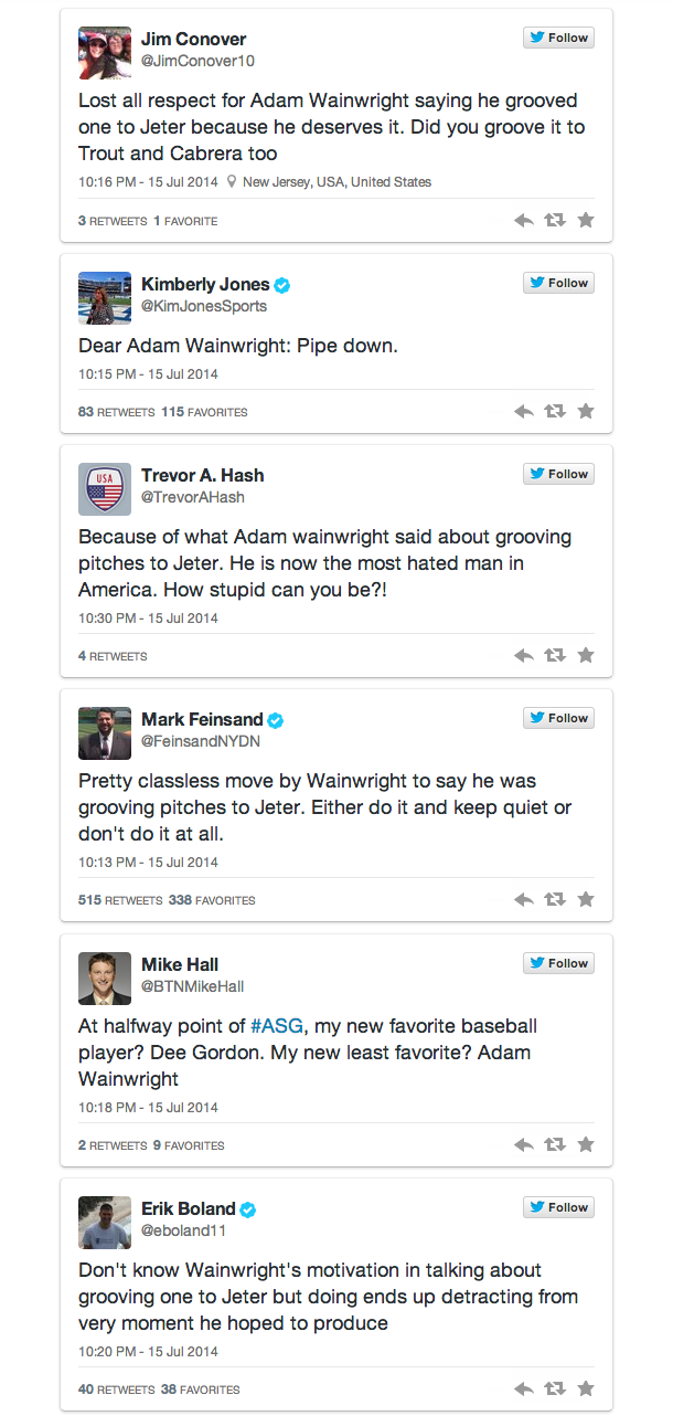 Adam Wainwright Derek Jeter Twitter Reaction