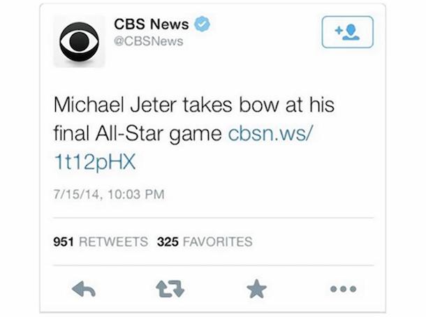 CBS News calls Derek Jeter Michael Jeter Tweet