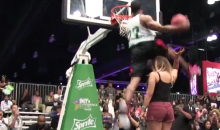 Streetballer 'Young Hollywood' Throws Down Through-The-Legs Dunk Over Female Standing on Chair (Video)