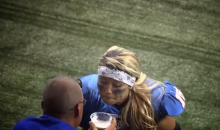 LFL Quarterback Slams a Beer in the End Zone after Scoring TD