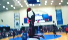 Guy Changes His Mind in Mid-Air, Throws Down Amazing Dunk (Video)
