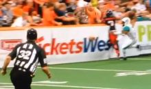 Arena Football Fan Leans Over the Boards, Gets Destroyed (Video)