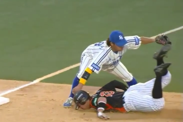 baseball slide fail korea