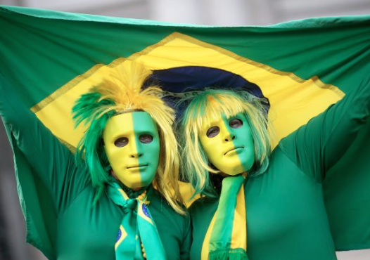 brazil fans in creepy masks - craziest fans at 2014 fifa world cup