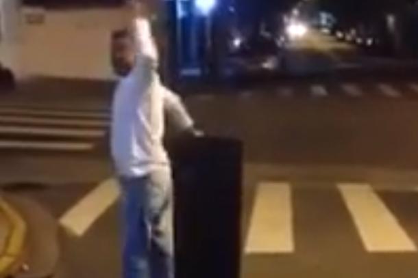 brazilian guy smashes tv in the street