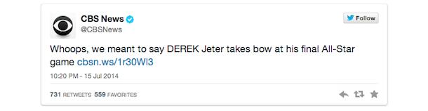 cbs derek jeter retraction tweet