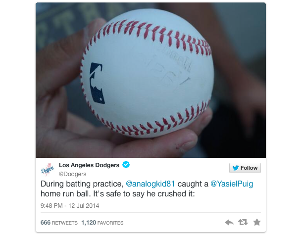 dodgers tweet about puig baseball