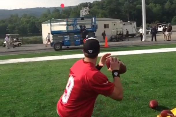 drew brees skeet shooting (hitting frisbees with footballs)