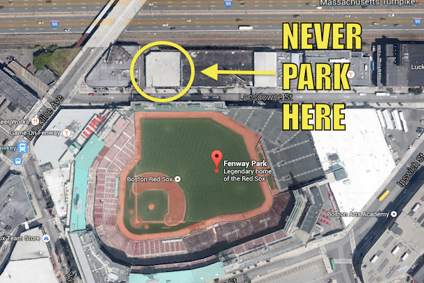 fenway parking lot -- where not to park at fenway