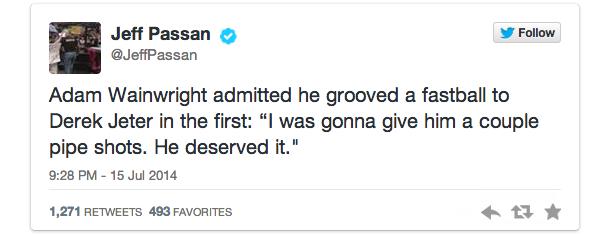 jeff passan tweet adam wainwright derek jeter all-star game