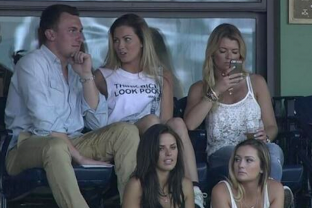 johnny manziel at fenway with hot chicks