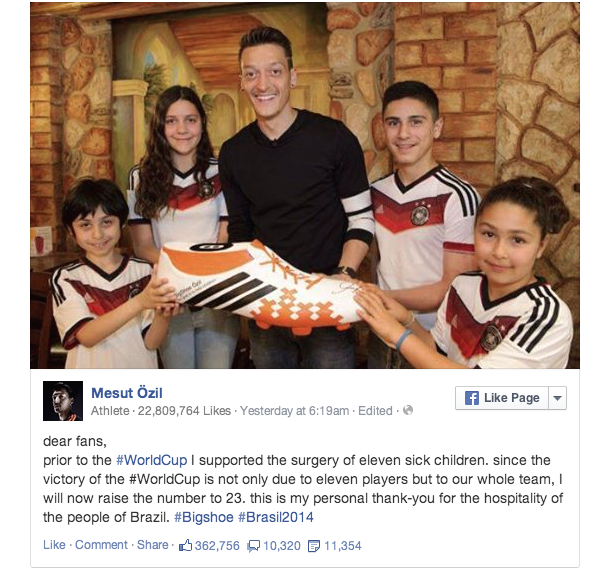 mesut ozil donation facebook announcement