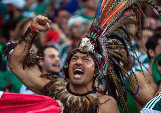 mexico fan aztec costume - craziest fans at 2014 fifa world cup