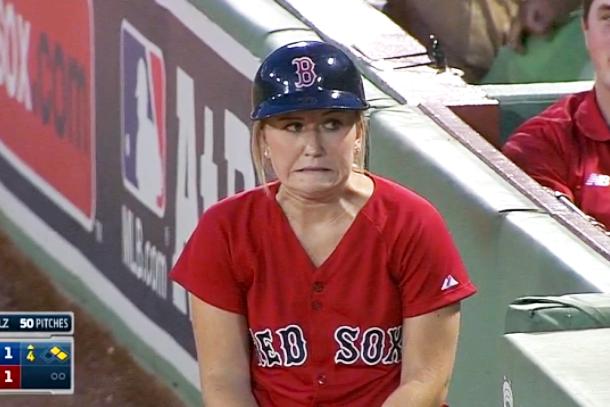 red sox ball girl fail face