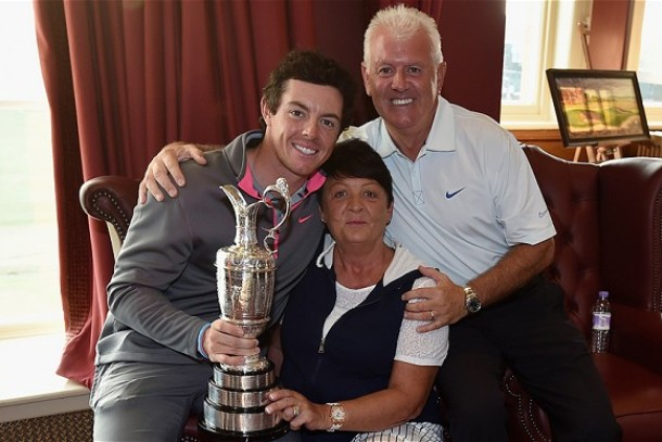 rory mcilroy and parents aftrer british open claret jug