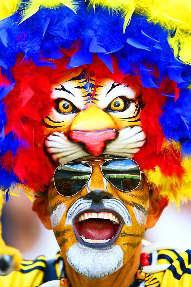 tiger hat tiger face guy - craziest fans at 2014 fifa world cup