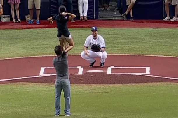 usa figure skating pair throws out first pitch at rays game