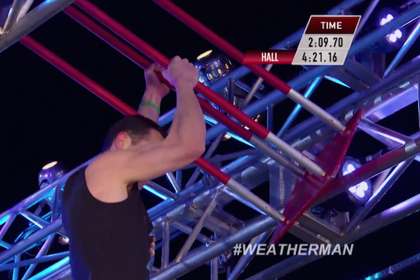 weatherman breaks american ninja warrior course