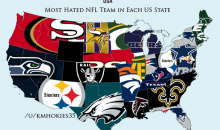 Reddit Establishes 'Sports Hate Maps' For NFL, NBA, and MLB in the USA (Pics)