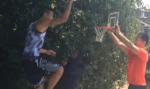 Jeremy Lin Posterizes His Mom and Others with Mini-Basketball Dunks (Video)