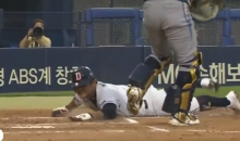 Korean Baseball Player Slides About Four Feet Short of Home Plate (Video)