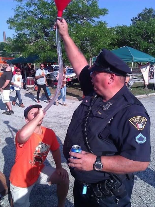 beer bong cop