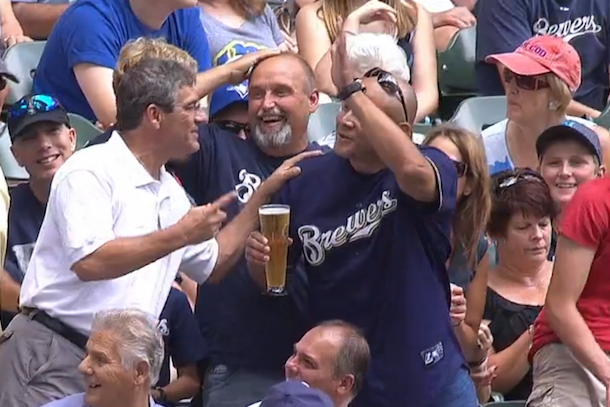 brewers announcers buy fan a beer