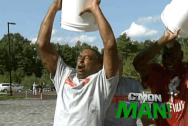 cris carter dumps water on chris berman in ice bucket challenge