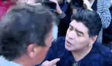 Diego Maradona Slaps Reporter for Winking at His Baby Mama (Video)