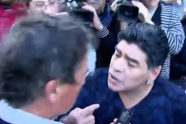 diego maradona slaps reporter in the face