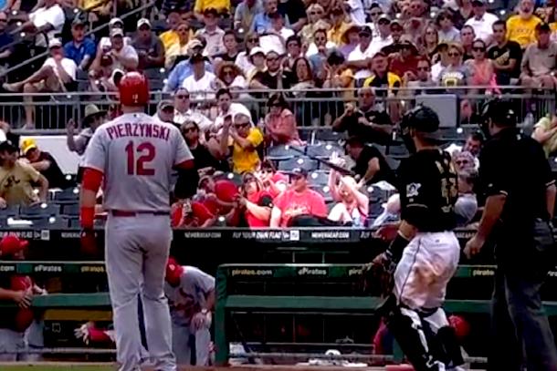fan hit by bat has no idea it is coming