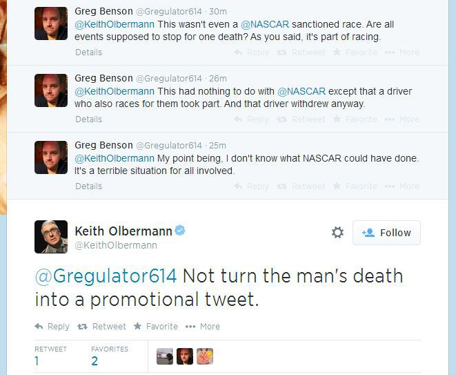 olbermann twitter debate nascar tony stewart cheez-it 355 1