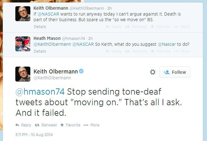 olbermann twitter debate nascar tony stewart cheez-it 355 2