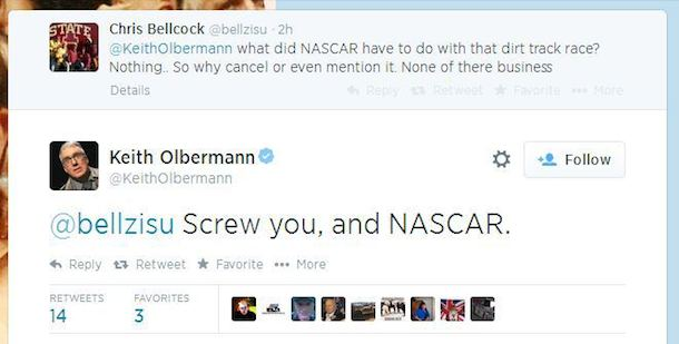 olbermann twitter debate nascar tony stewart cheez-it 355 3