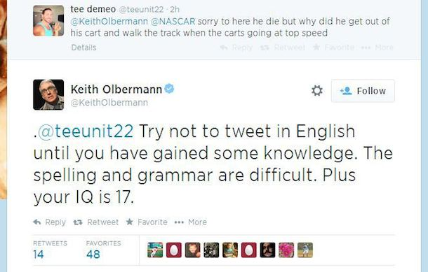 olbermann twitter debate nascar tony stewart cheez-it 355 4