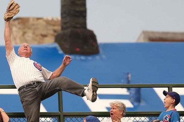 old cubs fan makes amazing catch on home run ball