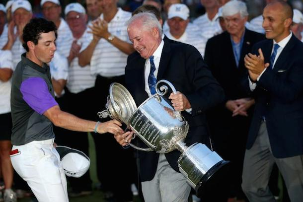 rory mcilroy saves pga trophy after winning pga championship