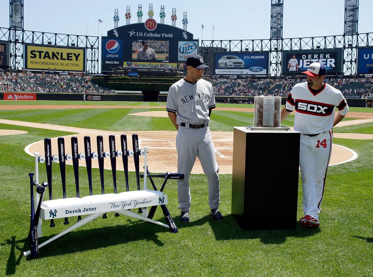 11 Derek Jeter retirement gifts - White Sox baseball bench and shortstop dirt (May 25)