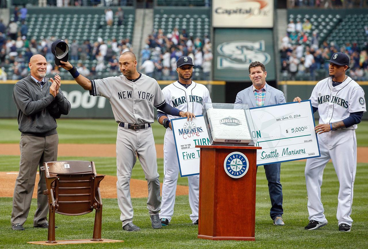 13 Derek Jeter retirement gifts - Seattle Mariners Kingdome Seat + base + engraved watch + donations to turn 2 foundation (June 10)