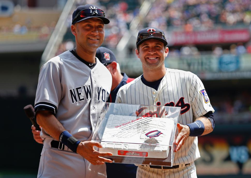 14 Derek Jeter retirement gifts - Minnesota Twins second base from final game at Metrodome 2009 ALDS (July 5)