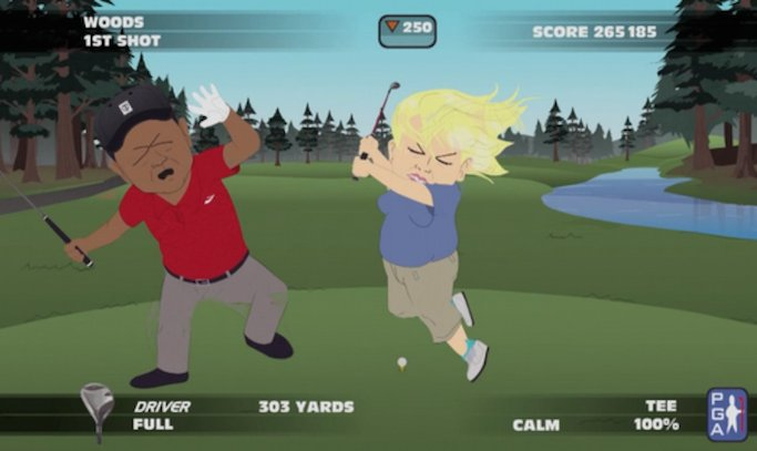 2 tiger woods golf fighting elin nordegren  - sports figures parodied on south park